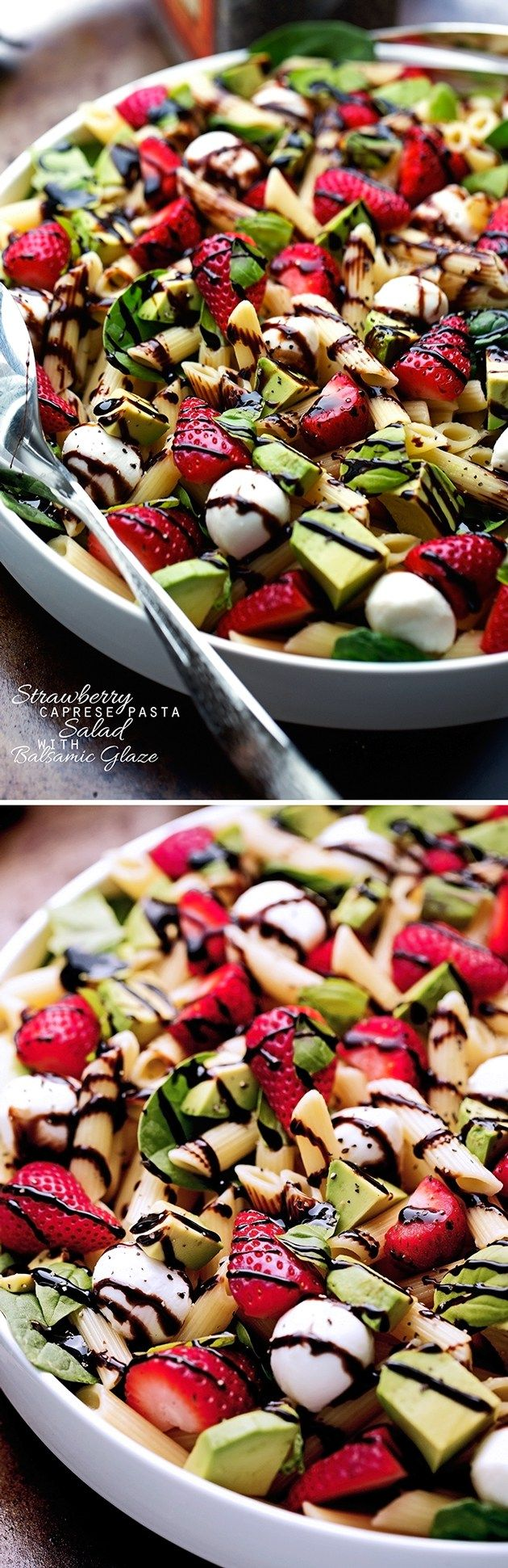 Strawberry Caprese Pasta Salad - Made with a homemade balsamic glaze, this salad is to die for! #pastasalad #capresepastasalad #balsamicglaze | Littlespicejar.com