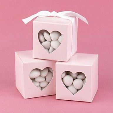 witte gunst doos met hartvormige venster (set van 12) - EUR € 5.77
