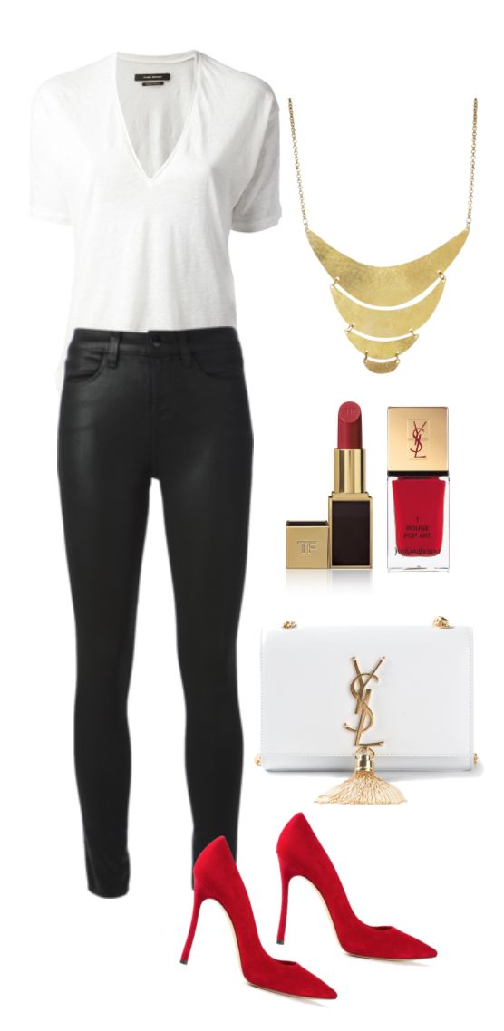 Plain white tee black pants/jeans gold jewellery red lips /or red heels - simple chic get more only on http://freefacebookcovers.net