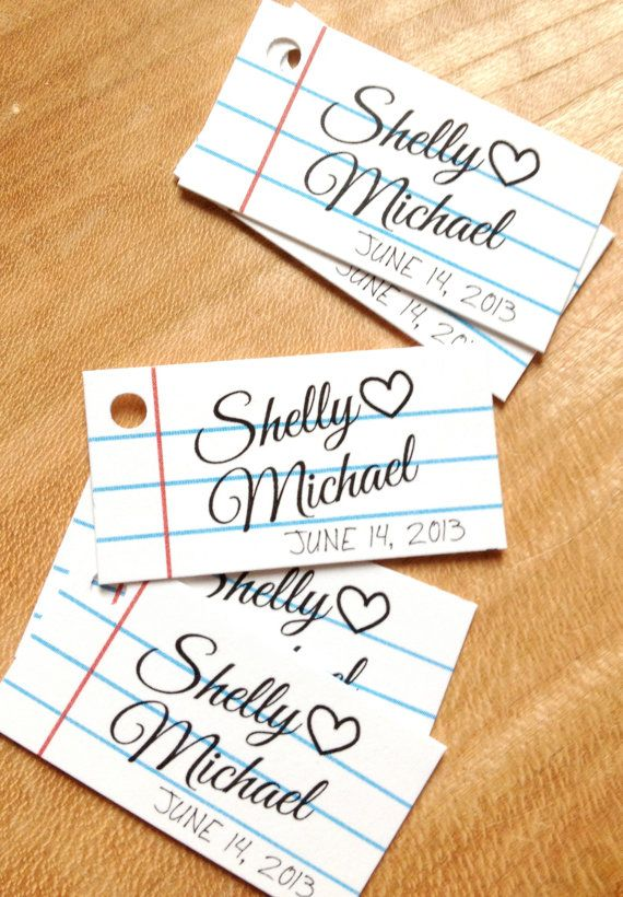 Notebook Paper Wedding Favor Tags  School Style by DesignCircus, $17.95
