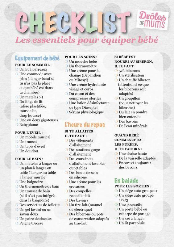 La checklist pour s'équiper pour bébé http://drolesdemums.com/mes-outils-pratiques/checklist-s-equiper-pour-l-arrivee-de-bebe: