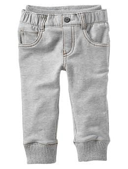 "Knit-waist French terry pants The absolute best ""baby jean"" there is. I wish they made it in a matching mommy size :)"