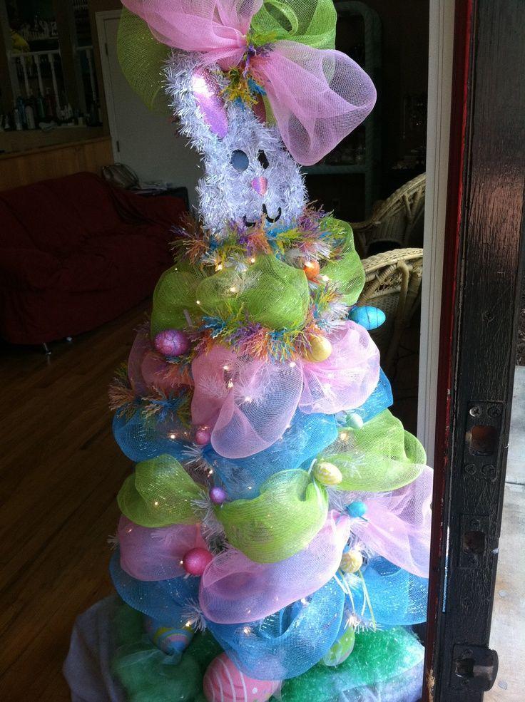White Easter Tree | Easter bunny deco mesh tree | Deco Mesh