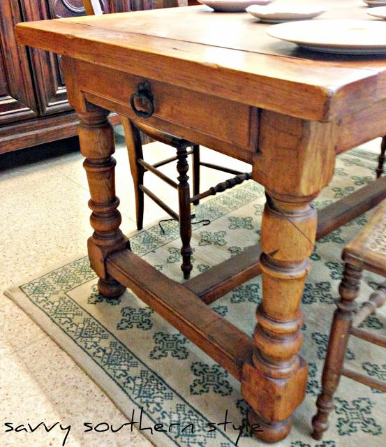 Savvy Southern Style: A Vintage French Farm Table. I Like The Drawer Idea.