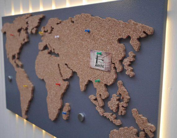"Magnetic pin board ""world map"" made of cork (bulletin board) by merk!echt"