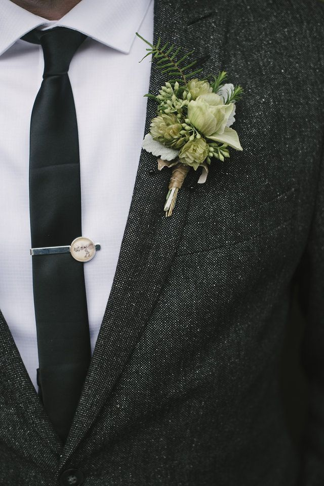 Fleurie boutonniere, using my garden grown, dried hops for this craft beer fan. Ellie Koleen Photography