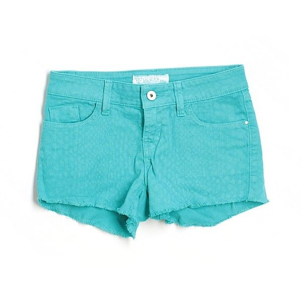 Pre-owned Guess Denim Shorts Size 0: Teal Women's Bottoms ($17) ❤ liked on Polyvore featuring shorts, teal, jean shorts, teal shorts, guess shorts, denim short shorts and short jean shorts