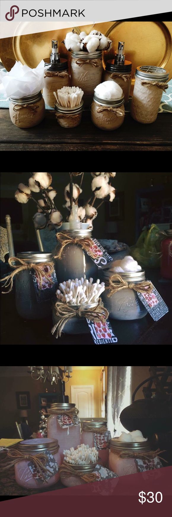 Mason Jar Bathroom Sets Made to order  Small - $20 (Small soap dispenser, Q-Tip holder, cotton ball holder, toothbrush holder)   Medium set -$25 (Large soap dispenser, Q-Tip holder, cotton ball holder, toothbrush holder)  Large set - $30 (Large soap dispenser, Q-Tip holder, cotton ball holder, toothbrush holder, vase or candle holder)   XL set- $35 (Large soap dispenser, Q-Tip holder, cotton ball holder, toothbrush holder, vase, candle holder)   Gift baskets available upon request- examples…