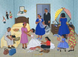 Carmen Lomas Garza    The Blessing on Wedding Day/La Bendición en el Día de la Boda  - 1993, alkyd on canvas, 24 x 32 inches. #PA053. Collection of Smith College Museum, Northampton, Massachusetts