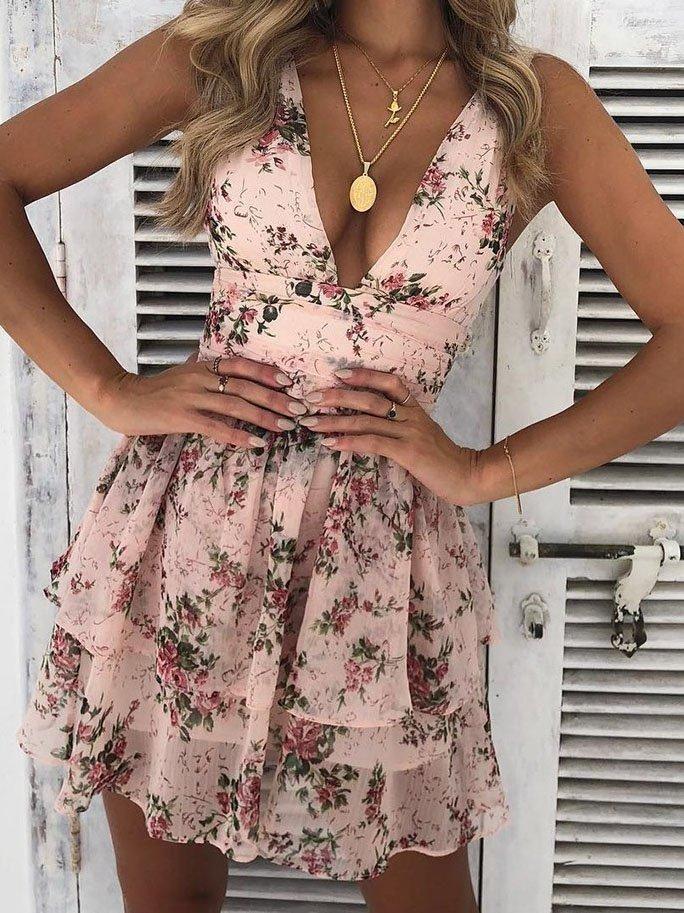 Pink Blumenstickerei Lässig Sommer Kleider #Farbberatung #Stilberatung #Farbenr…