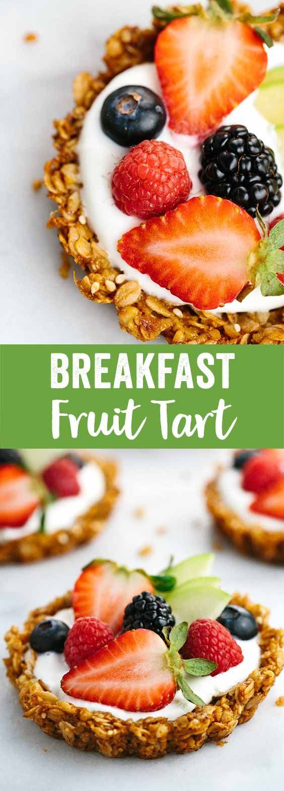 Breakfast Granola Fruit Tart with Yogurt Recipe - Customize your favorite fillings and toppings in the crunchy granola crust!  via /foodiegavin/