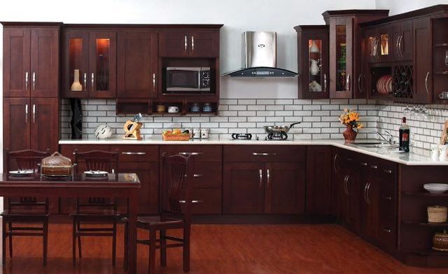 The Truth, Finally:  The True Cost of Kitchen Cabinets: $2,327: Unassembled 11 Wall and Base Cabinets in Vintage Merlot
