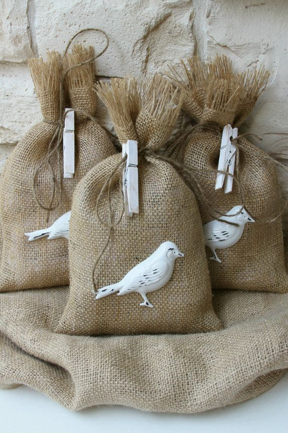 Burlap Gift Bags by FourRDesigns