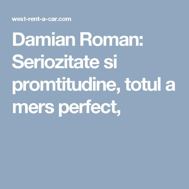 Damian Roman: Seriozitate si promtitudine, totul a mers perfect,