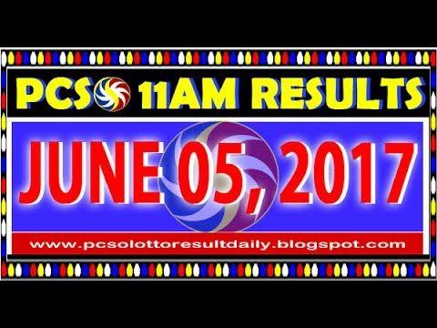 PCSO 11AM LOTTO RESULTS JUNE 05, 2017 (Swertres & EZ2)