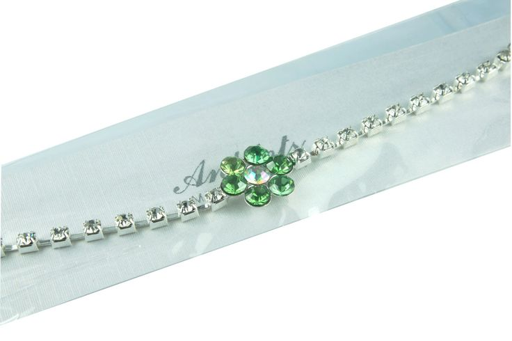Peridot green flower ankle chain available in other colours from WWW.GlitzyGlamour.co.uk