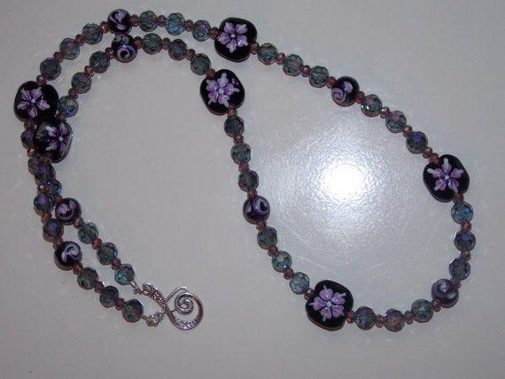 Purple Floral Necklace by EriniJewel on Etsy