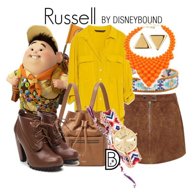 """Russell"" by leslieakay ❤ liked on Polyvore featuring Chan Luu, Zara, Amrita Singh, FOSSIL, Bay Studio, Argento Vivo, disney, disneybound and disneycharacter"