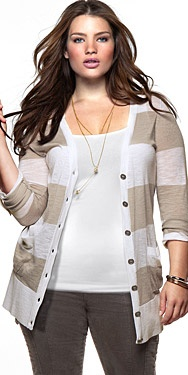 H&M; plus size line! cardigan $24.99.  What?!?!? H&M has plus size?? I didn't know!!