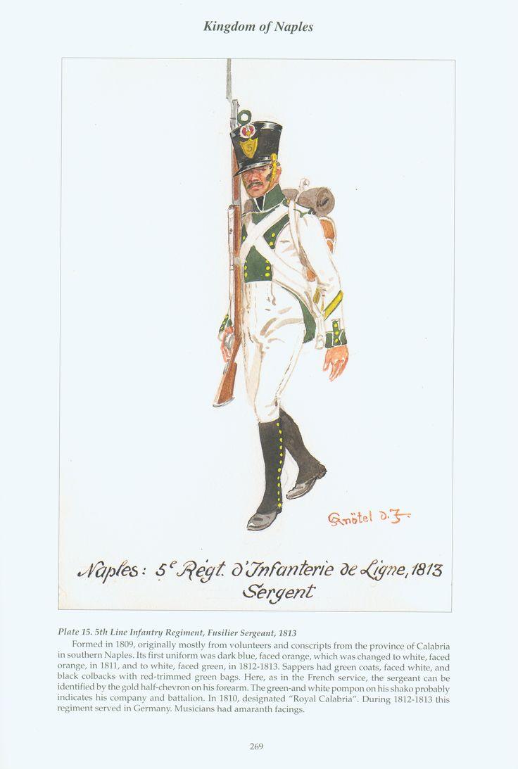 Kingdom of Naples: Plate 15. 5th Line Infantry Regiment, Fusilier Sergeant, 1813.