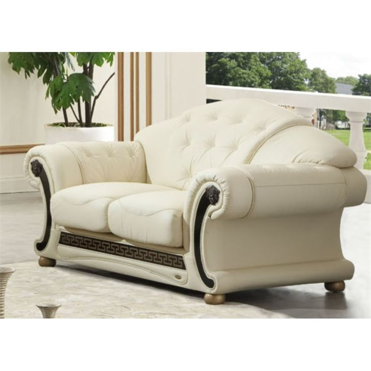 Sectional Sofas Lowest price online on all ESF Versace Leather Loveseat in Beige VERSACE