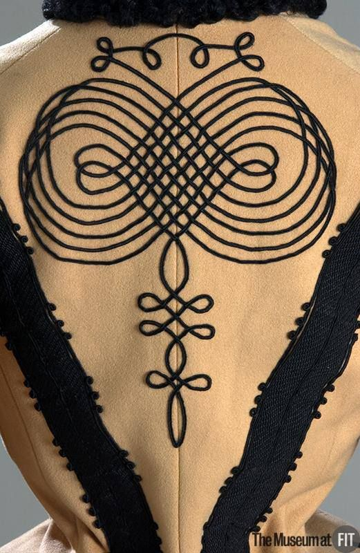Maison Laur skating jacket, c. 1895. Collection of The Museum at FIT #Uniformityhttp://ow.ly/7Lwr301b9y6   Military braiding and soutache began appearing on women's clothing during the 19th century, particularly in outerwear.