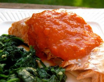 My Own Sweet Thyme: Pan Simmered Salmon in Roasted Red ...
