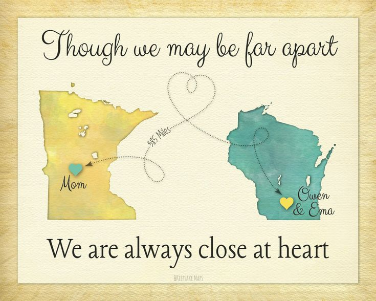Long Distance Gift for Grandma, Personalized Gift for Grandparents, We are always close at heart keepsake print by Keepsake Maps on etsy for $25.95