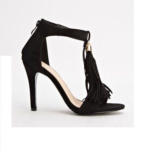 Suedette Tassel Heels - Black