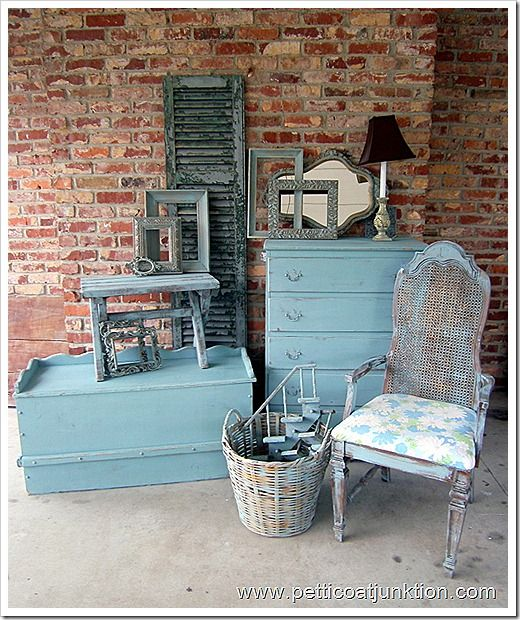 Painted furniture and home accessories. Turquoise or Aqua...you call it. Petticoat Junktion