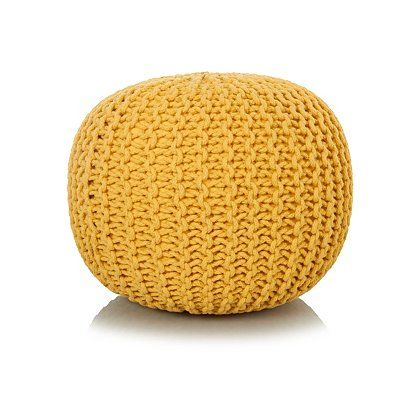 George Home Yellow Knitted Pouffe | Footstools & Pouffes | George at ASDA