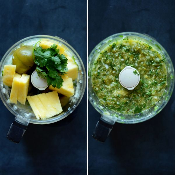 Roasted Tomatillo Pineapple Salsa Makes 3 cups - 5 tomatillos - 1/2 small yellow onion - 1 serrano (leave 1/2 seeds or all if you want it spicier) - 1 clove garlic - 1/2 lime juiced and zested - 1/2 fresh pineapple - handful of cilantro, chopped - 1 tsp. Kosher salt