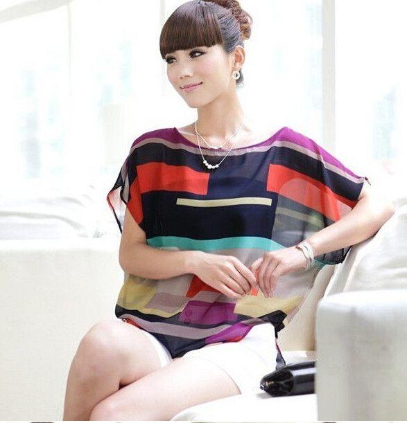 Fashion Women Striped chiffon blouse Multi-colour print shirts Loose Short Sleeve casual blusas femininas plus tops