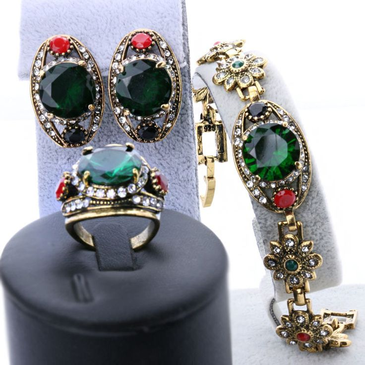 Free Shipping 2015 Latest Green Womens Jewellery Gold Sets Vintage Look Earrings And Bracelet Cheap Fashion