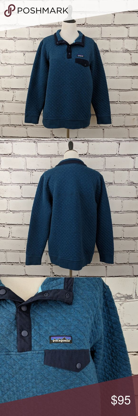 """Patagonia Quilted Snap-T Pullover! """"Big Sur Blue"""" colored quilted Patagonia pullover. Perfect, like new condition with no flaws! Patagonia Tops Sweatshirts & Hoodies"""