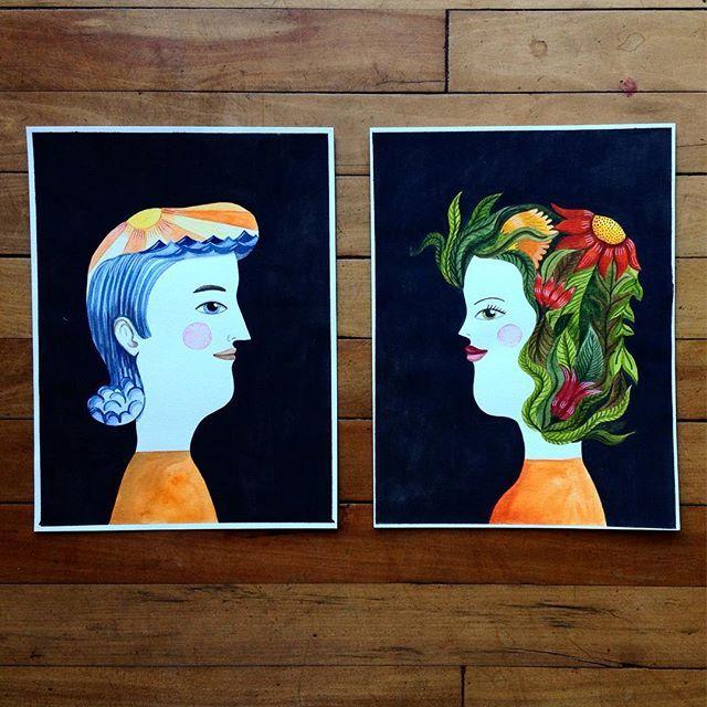 El y Ella #watercolor