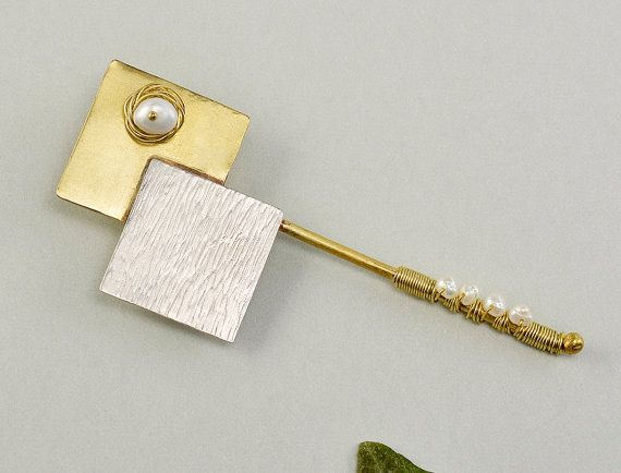 Geometric long pin sterling silver pin by ColorLatinoJewelry