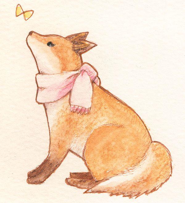 「アカギツネ」「Red fox」水彩イラスト Illustration:Shoko.h