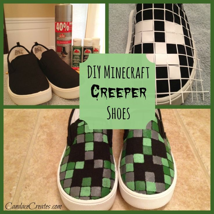 DIY Minecraft Shoes - I bet all the kids that are obsessed with this game would love these shoes. They look easy to do.