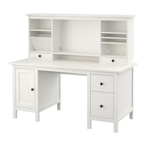 The HEMNES desk with add-on unit from @IKEAUSA has ample storage space so you can keep your office organized.