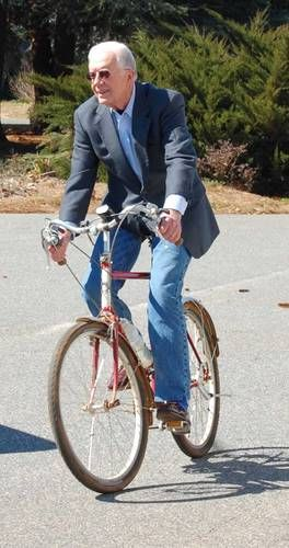 Former President Jimmy Carter on a bike is a familiar sight in his hometown of Plains, Georgia. He frequently rides to breakfast at his favorite restaurant.