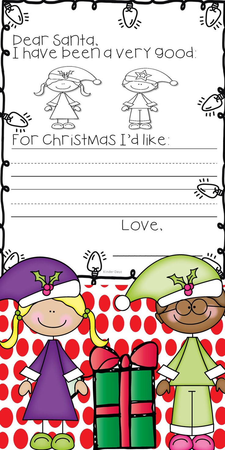 Festive FREEBIE...Perfect for Pre-K, Kindergarten or First Grade Students to write a letter to Santa. Students circle and color the girl or boy and write his/her letter! Cute quick idea my kiddos really enjoyed this activity last year!