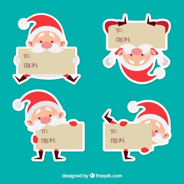 Etiquetas caráter de Papai Noel Vetor grátis