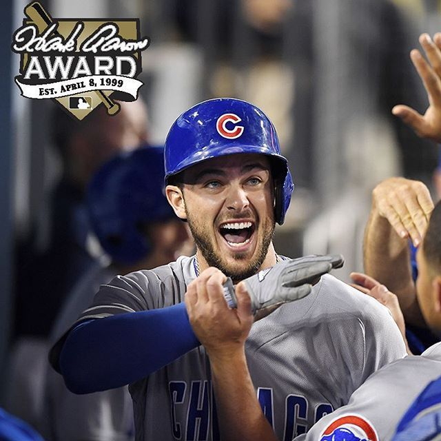 Congratulations to @kris_bryant17, winner of the 2016 Hank Aaron Award for most outstanding offensive performer in the National League!