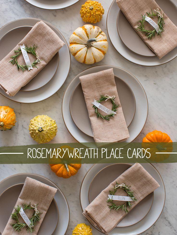 DIY: rosemary wreath place cards