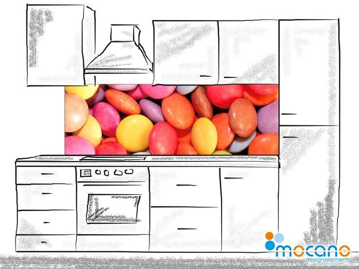 Bonbons soweit das Auge sieht - Diese Küchenrückwand im 180x60cm