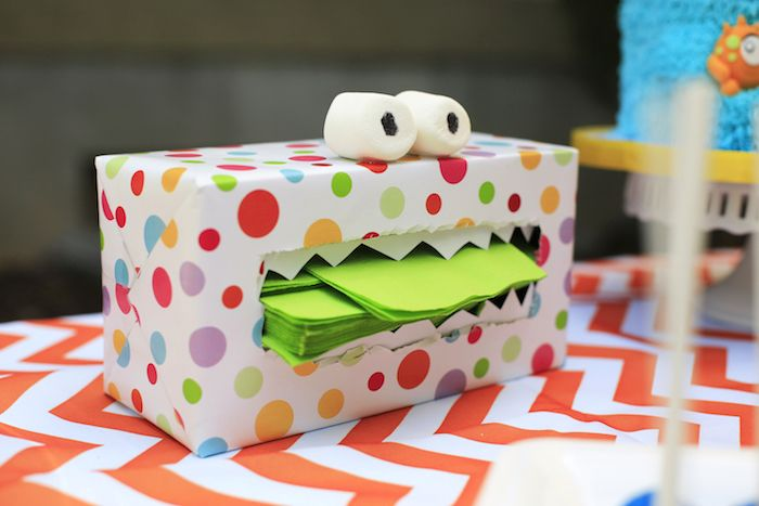 Monster box holding napkins from a Little Monster Birthday Party on Kara's Party Ideas | KarasPartyIdeas.com (22)