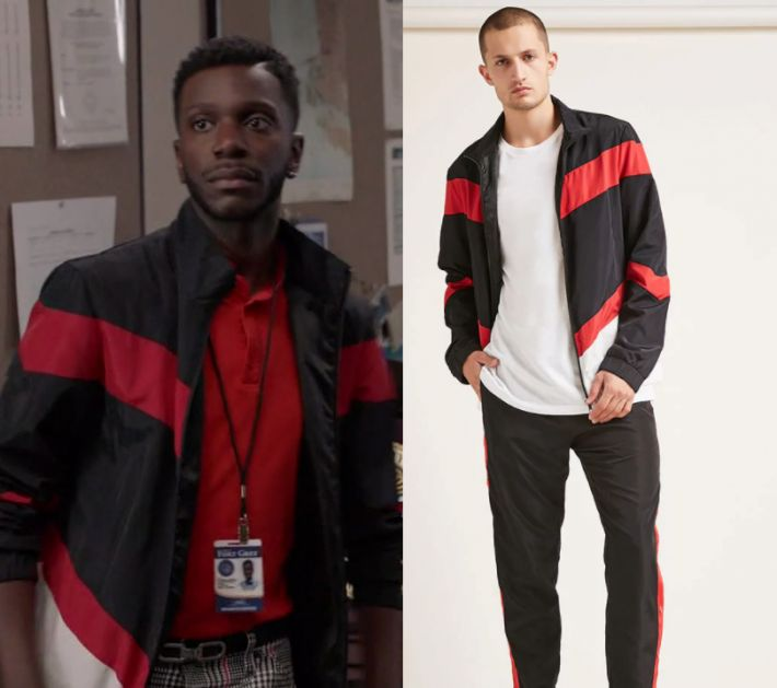 "by Kirsty0 Comments Jermaine Leforge (Bernard David Jones) wears this black red and white colorblock striped windbreaker jacket in this episode of The Mayor, ""The Filiburners"". It is the Forever 21 Colorblock Windbreaker Jacket."