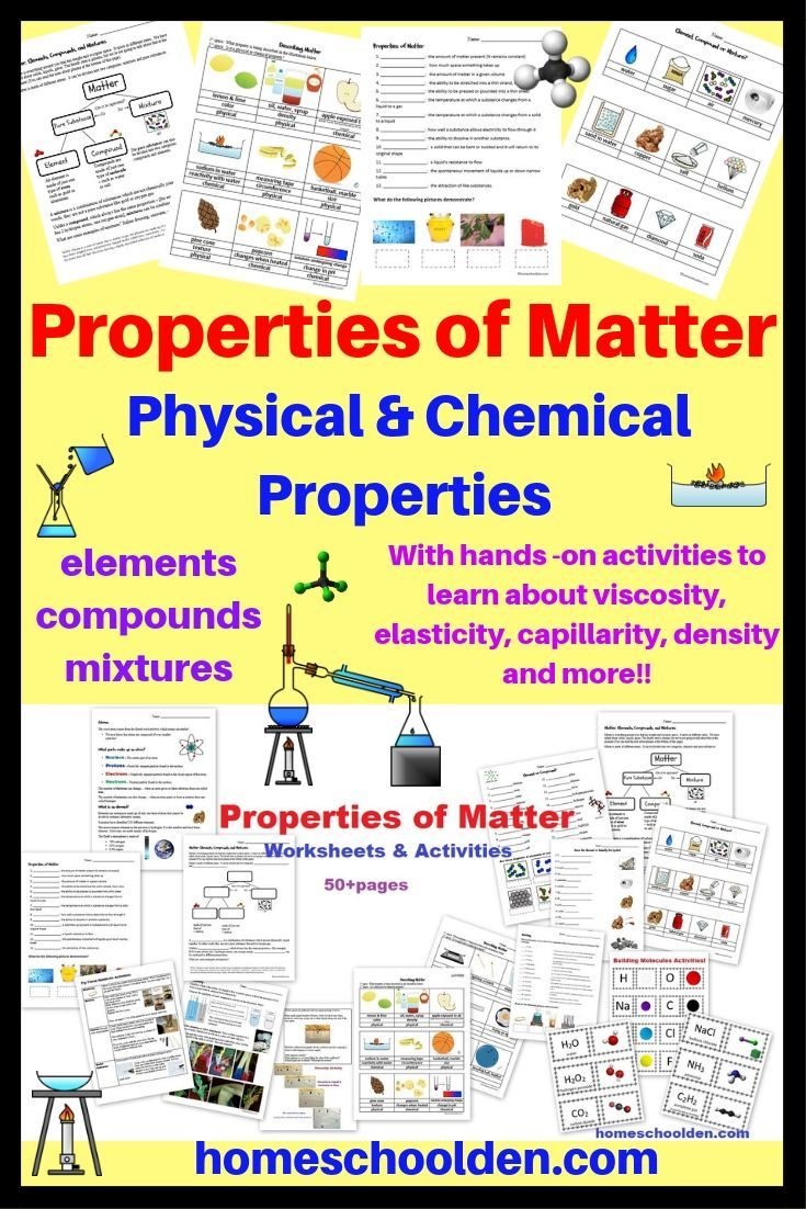 Properties of Matter Worksheets and Activities: This 50+ ...