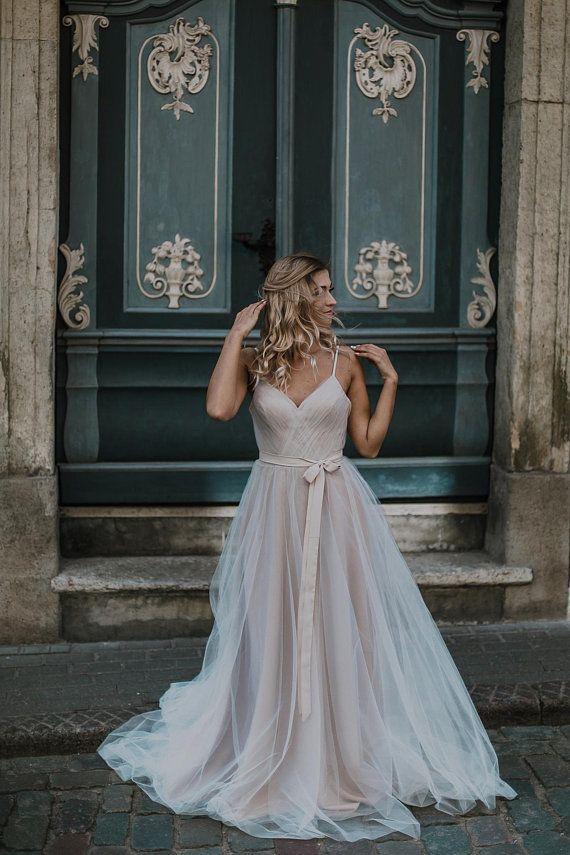 Beige Tulle Wedding Dress Romantic Tulle Wedding Dress Etsy Wedding Dresses Romantic Tulle Wedding Dress Styles Tulle Wedding Dress